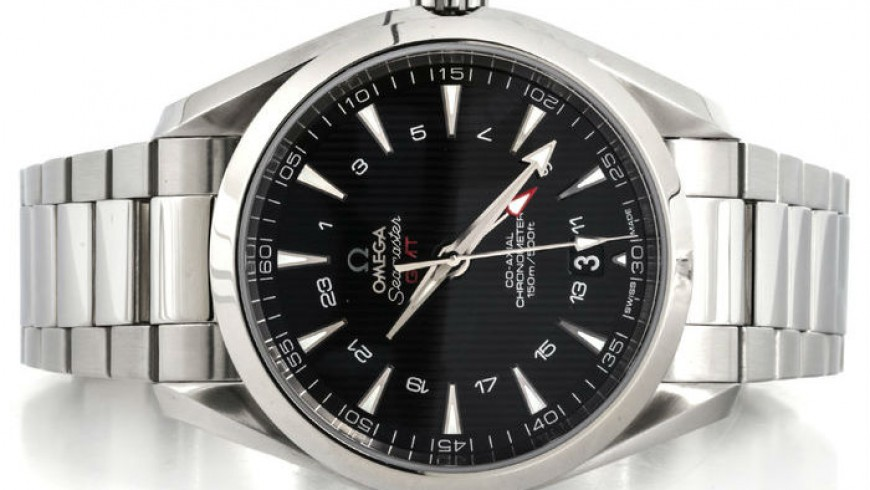 Black Dial Steel Case Omega Seamaster Aqua Terra GMT Replica Watch Ref.231.10.43.22.01.001