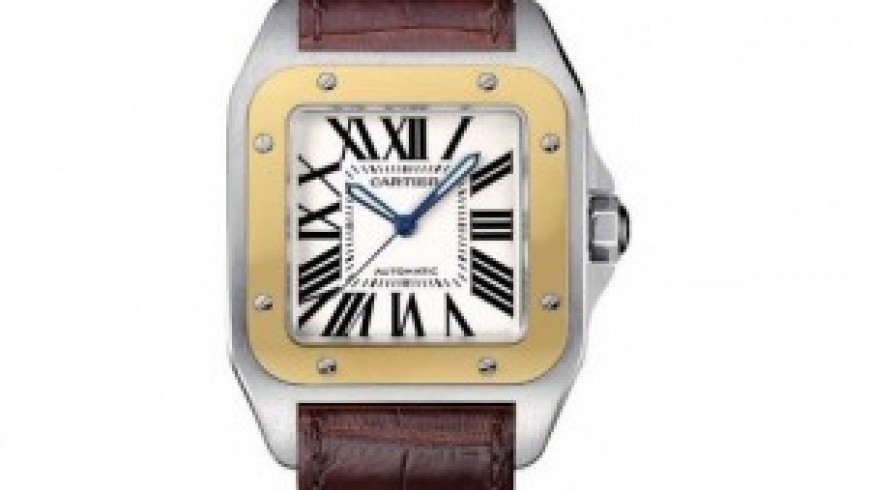 Replica Cartier Santos 100 Steel Watch with Brown Leather Strap