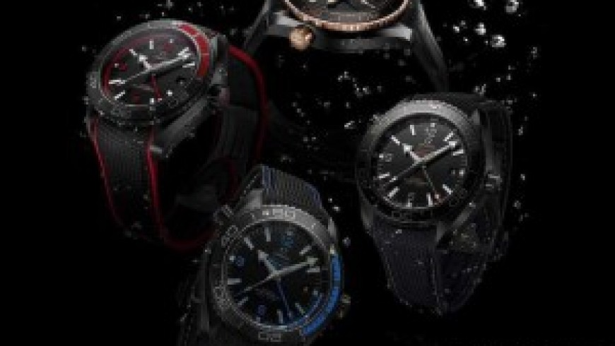 Two deep black omega seamaster planet ocean replica watches