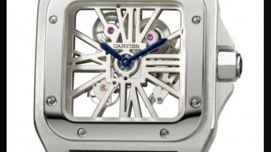 Best cartier santos 100 skeleton tourbillon replica watch with roman numerals