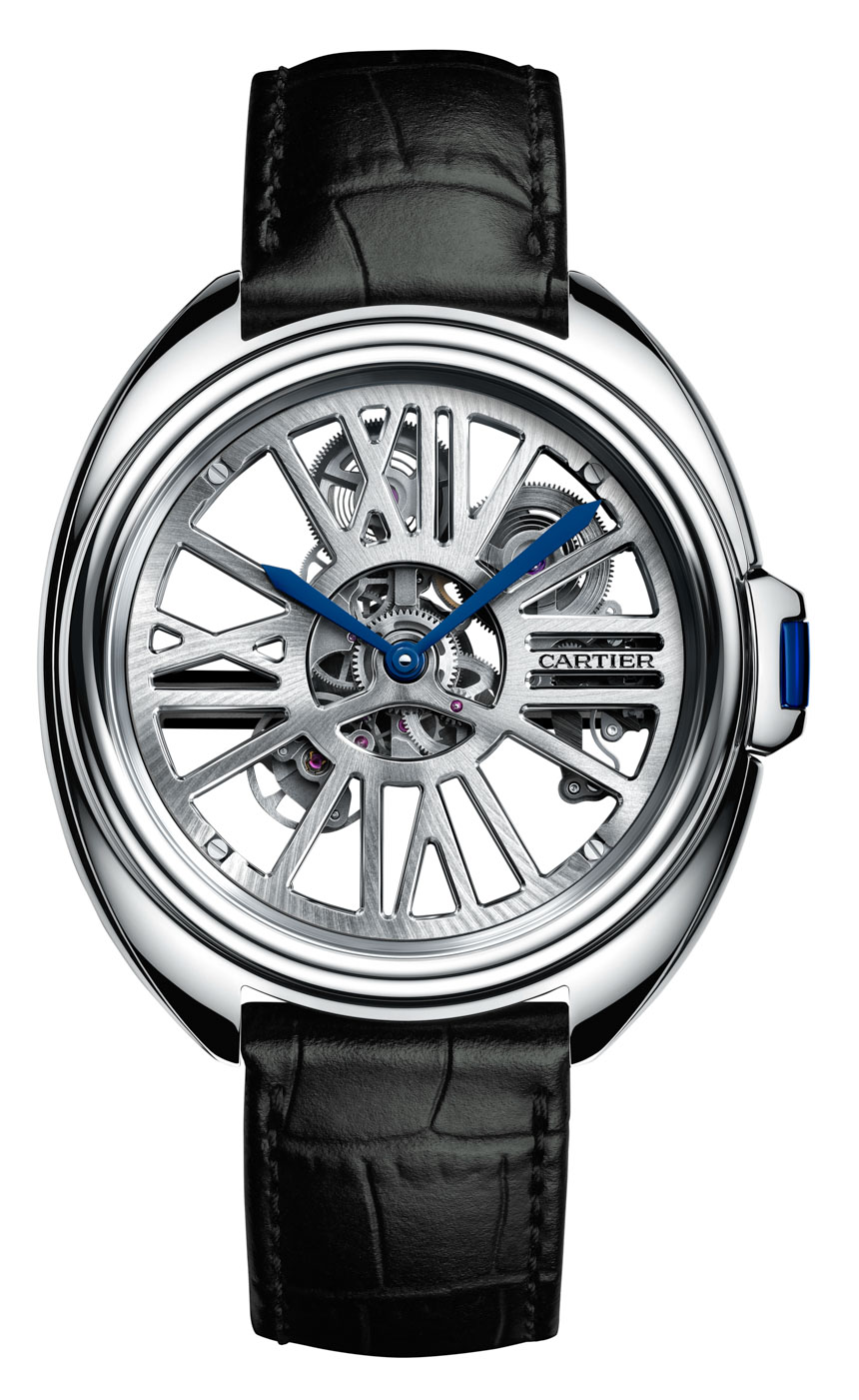 Steel Case Cartier Clé Automatic Skeleton Watch Replica for Sale